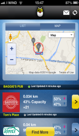 אפליקציית heys מסך חיפוש מקומות בתצוגת מפה